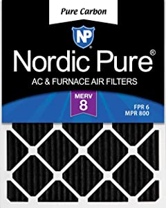 Nordic Pure 15x20x1 MERV 8 Pure Carbon Pleated Odor Reduction AC Furnace Air Filters 3 Pack