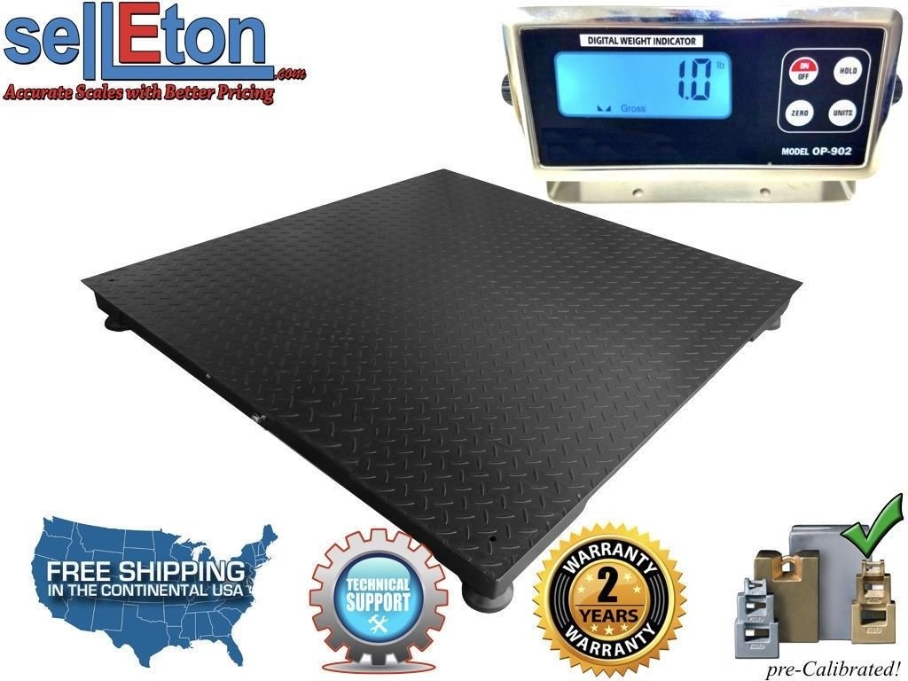 Selleton Industrial 5' X 5' (60'' X 60'') Floor Scale Pallet Size with 10,000 Lbs X 1 Lb by Selleton