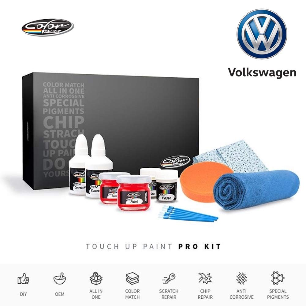 Color N Drive | Volkswagen LD7Z - Saltlake Grey Metallic Touch Up Paint | Compatible with All Volkswagen Models | Paint Scratch, Chips Repair | OEM Quality | Exact Match | Pro Pack by Color N Drive