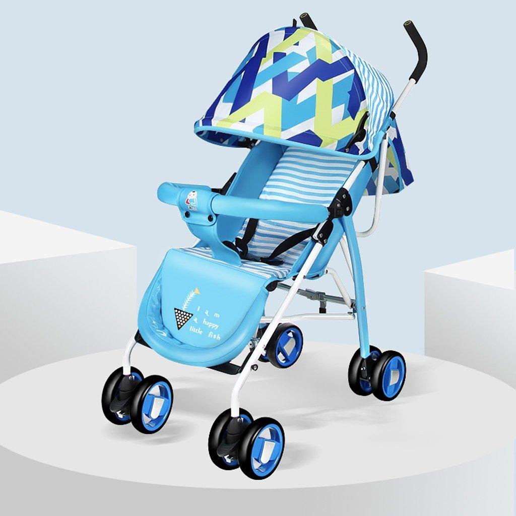 赤ちゃんのベビーカー軽量ポータブル折り畳み式シットバック子供用手押し車(赤)680 * 460 * 1040mm ( Color : Blue ) B07BTY74LT