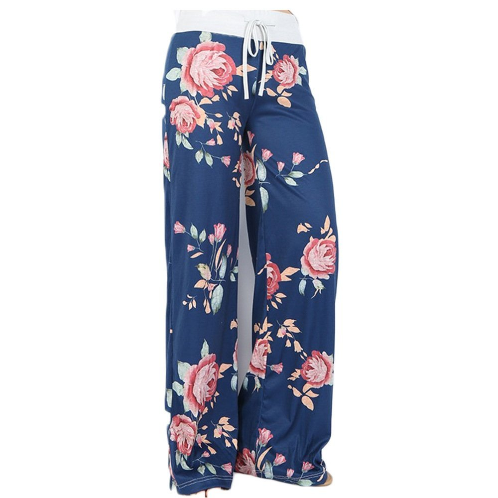 MiYang Women's Yoga Palazzo Pants Wide Leg Loose Floral Print Drawstring PA-MC0717-K0-S