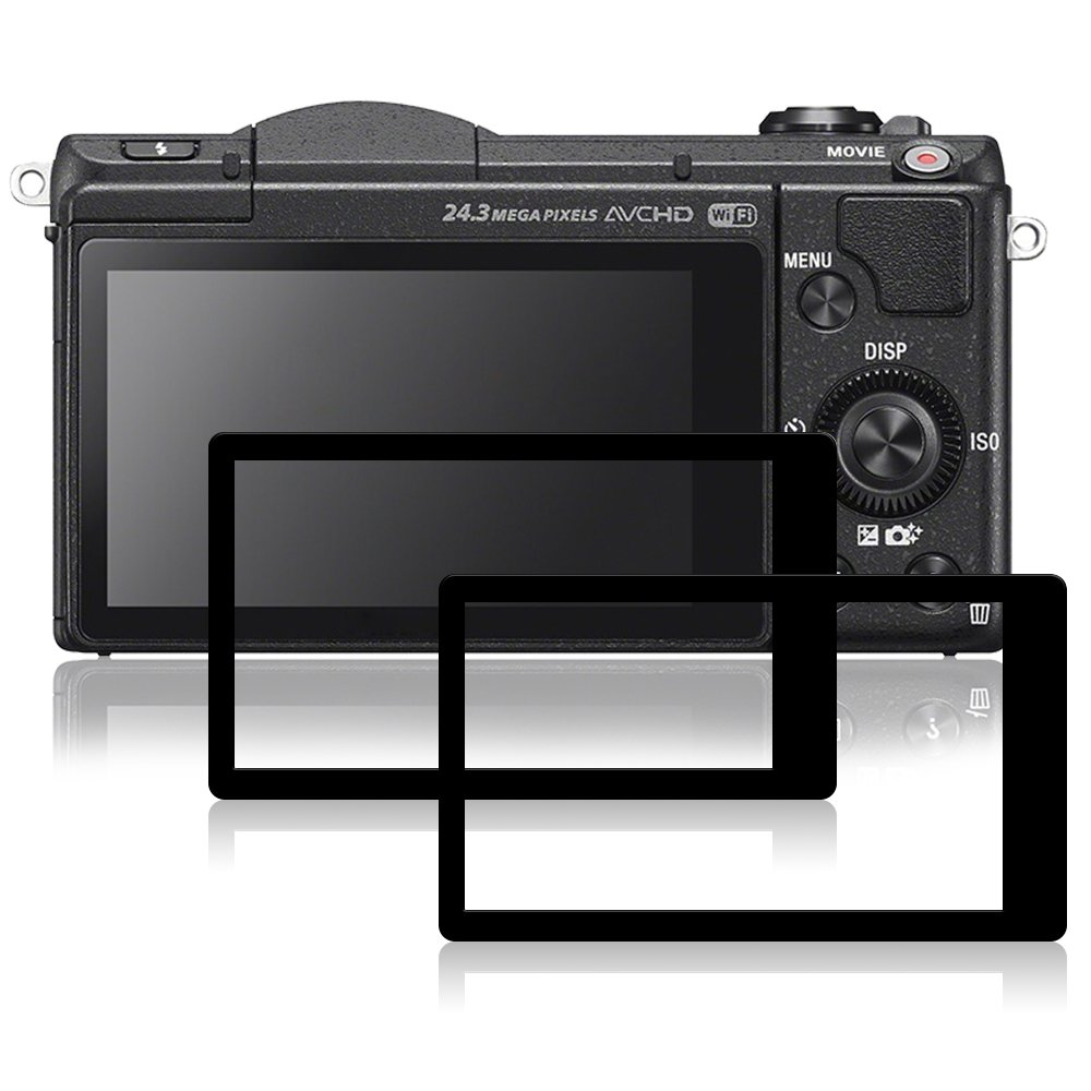 Screen Protectors for Sony A5100, AFUNTA 2 Packs Anti-Scratch Tempered Glass Protective Films for DSLR Digital Camera AF-A5100_cover