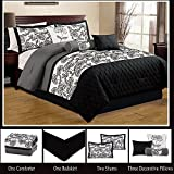 Modern 7 Piece Bedding Black / Grey / White Floral Emboidered King Comforter Set with accent pillows