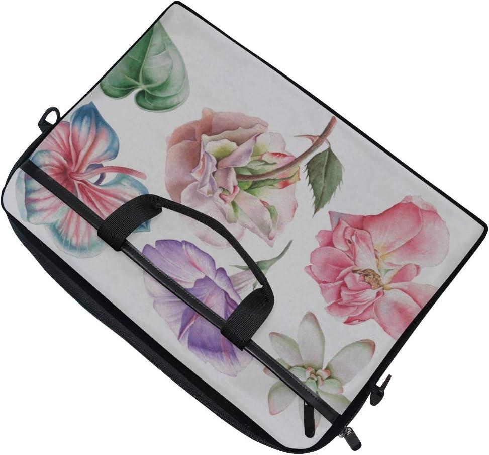 Briefcase Messenger Shoulder Bag for Men Women Laptop Bag Set Flowers Rose Petunia Orchid 15-15.4 Inch Laptop Case College Students Business People
