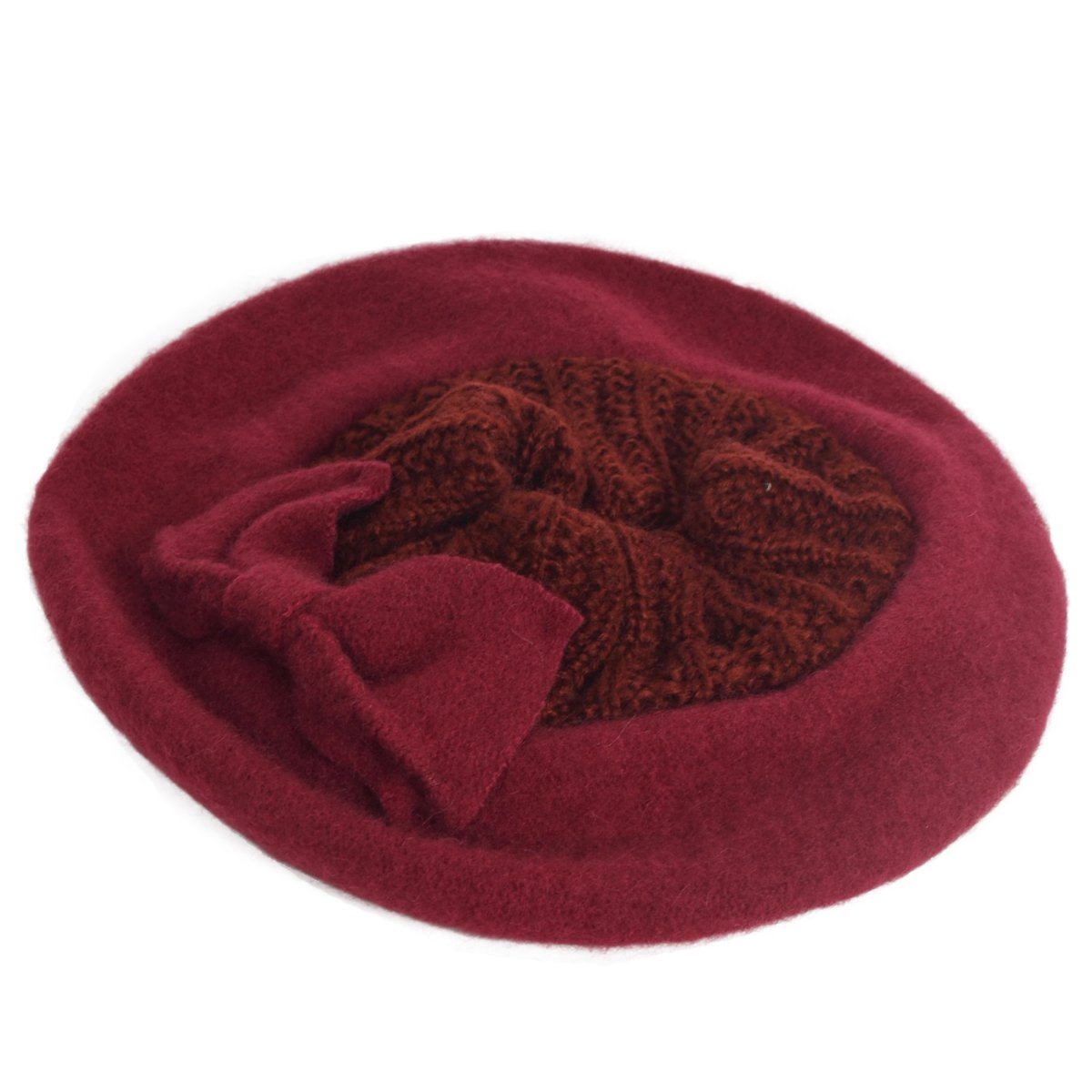HISSHE Lady French Beret 100% Wool Beret Chic Beanie Winter Hat HY023 (Knit -Burgundy) 0d28fc6345b3