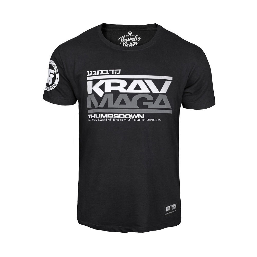 Thumbsdown Thumbs Piuma Krav Maga t-Shirt. Israele Combat Sistema. MMA Palestra. Allenamento. Marziale Arti. Casual Large