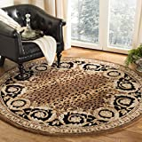 Safavieh Naples Collection NA712A Handmade Black and Gold Wool Round Area Rug, 6 feet in Diameter (6′ Diameter)