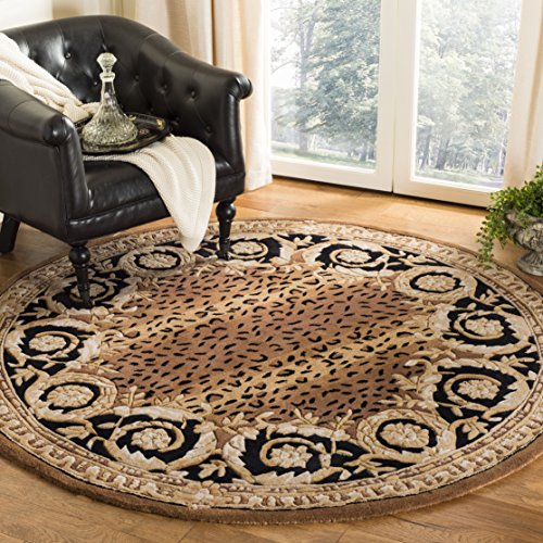 (Safavieh Naples Collection NA712A Handmade Black and Gold Wool Round Area Rug, 4 feet in Diameter (4' Diameter))