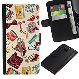 KingStore / Leather Etui en cuir / HTC One M8 / Cassette Retro Technology