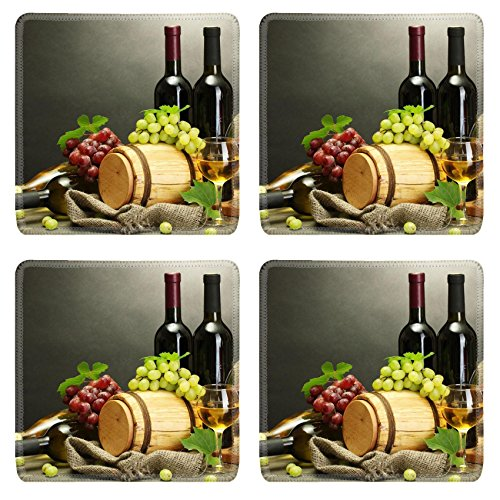 Grapes Wine Bottle Coaster - Liili Square Coasters Non-Slip Natural Rubber Desk Pads IMAGE ID: 14013973 bottles and glasses of wine cheese and ripe grapes on wooden table on grey background