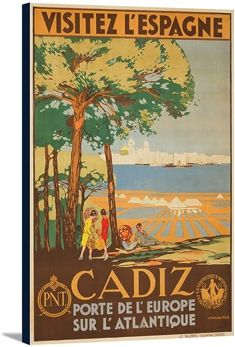 Amazon Com Cadiz Visitez L Espagne Vintage Poster Artist De Castro Spain C 1929 23 1 4x36 Gallery Wrapped Stretched Canvas Posters Prints