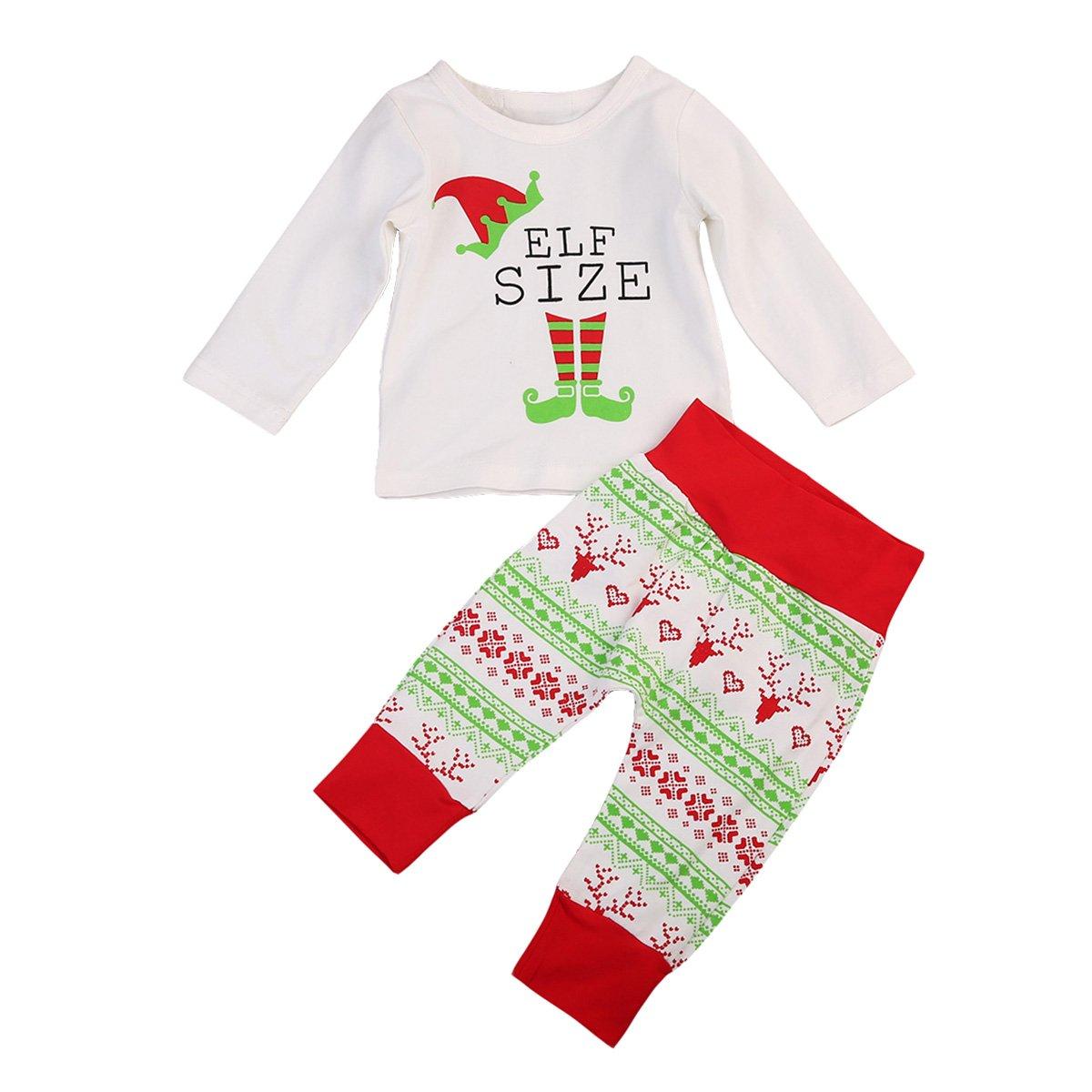Imcute Unisex Baby Christmas Pajama 2Pcs Long Sleeve Tshirt and Pants Sleepwear Set