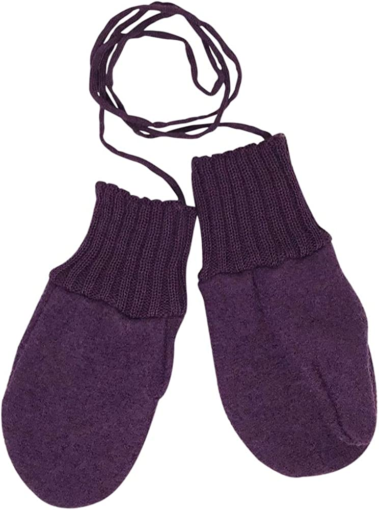 Toddler and Kids Mittens Organic Merino Wool Snow Gloves with String