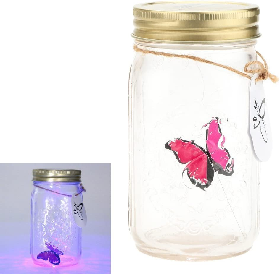 dingdangbell romántico lámpara LED romántico tarro de cristal de mariposa San Valentín los niños regalo de Navidad