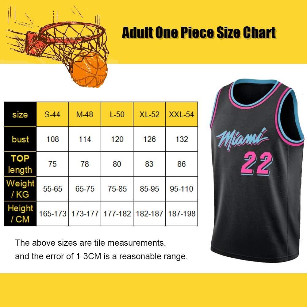 apto para fiestas y deportes Miami Heat Jimmy-Butler # 22 talla adulto Camiseta de baloncesto para hombre versi/ón urbana de uniforme de baloncesto