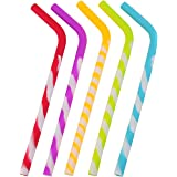 California Straws, Food Grade Silicone Reusable Drinking Straws (5-pack)- Dishwasher Clean, Safe for Kids