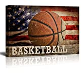 wall26 – Basketball Americana – Patriotic Roundball Sport Grunge Flag – Canvas Art Home Decor – 12×18 inches For Sale