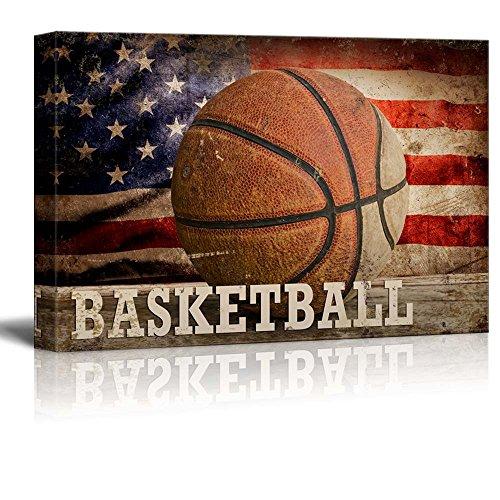 Basketball Americana Patriotic Roundball Sport Grunge Flag