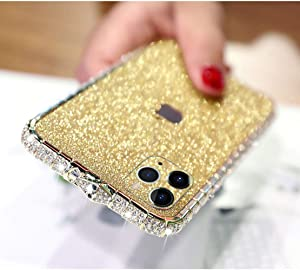 LUVI for iPhone 11 Pro Max Glitter Sticker Case Bling Diamond Rhinestone Crystal Metal Bumper Frame Case Edge Protective Cover Shiny Sparkle Skin Cute Luxury Fashion for iPhone 11 Pro Max Gold
