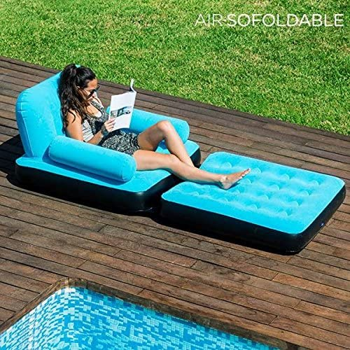 Sillón hinchable + reposapiés hinchable para jardín, piscina ...