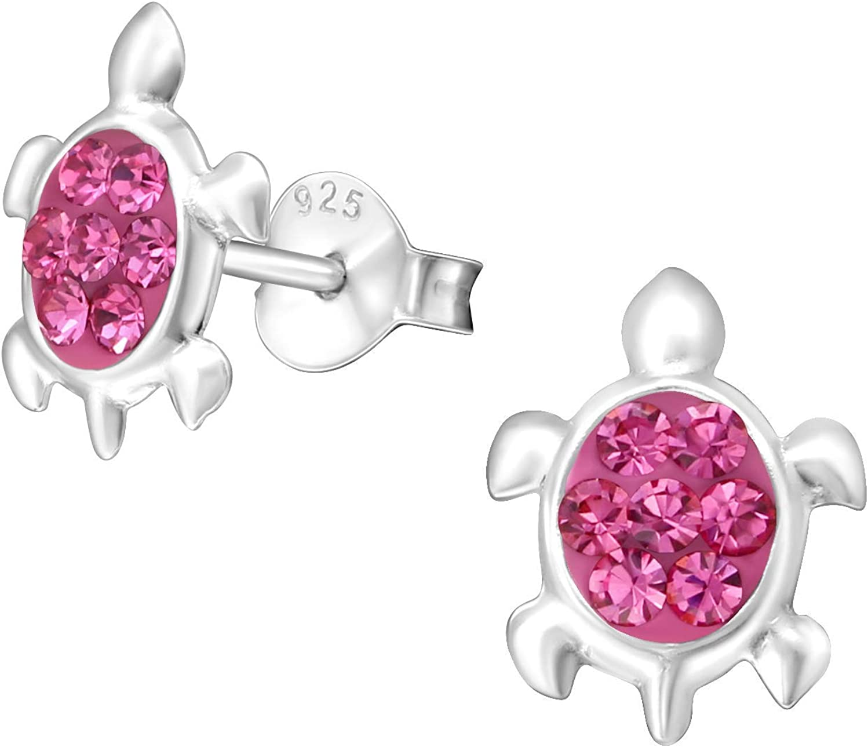 Katy Craig tortuga/diseño de tortuga de plata de ley con Juego de pendientes de tuerca rosa piedras de cristal