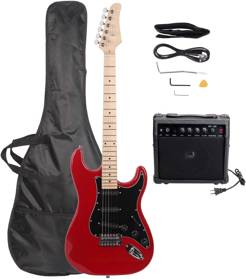 DeTrust Electric Guitar ST Stylish Electric Guitar with Black Pickguard Portable and Comfortable Suitable for Beginners Red Red