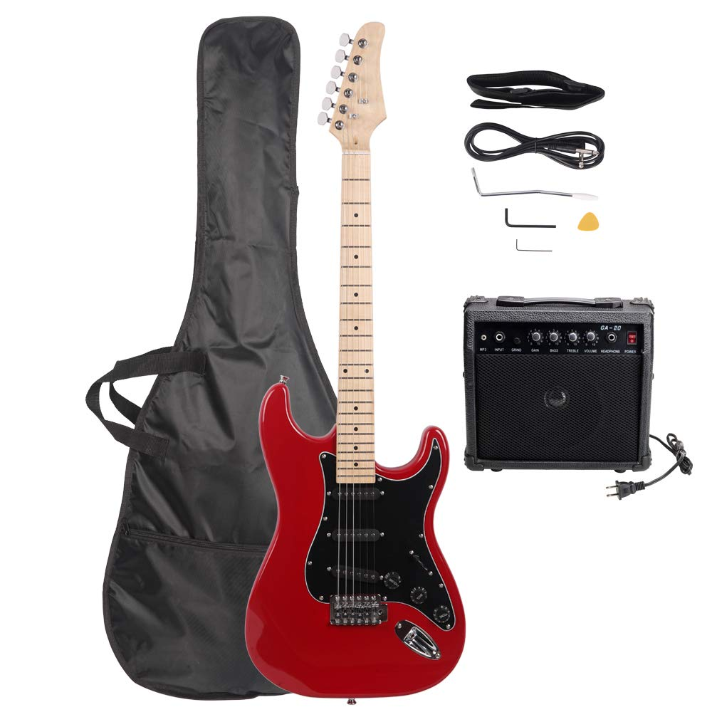 ISIN Full Size Electric Guitar for Music Lover Beginner with Amp and Accessories Pack Guitar Bag (red)