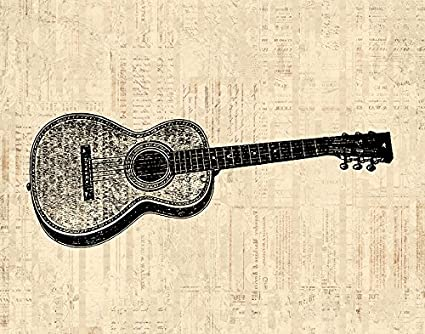 Amazon.com: Vintage Acoustic Guitar Print for Wall Art & Home ...