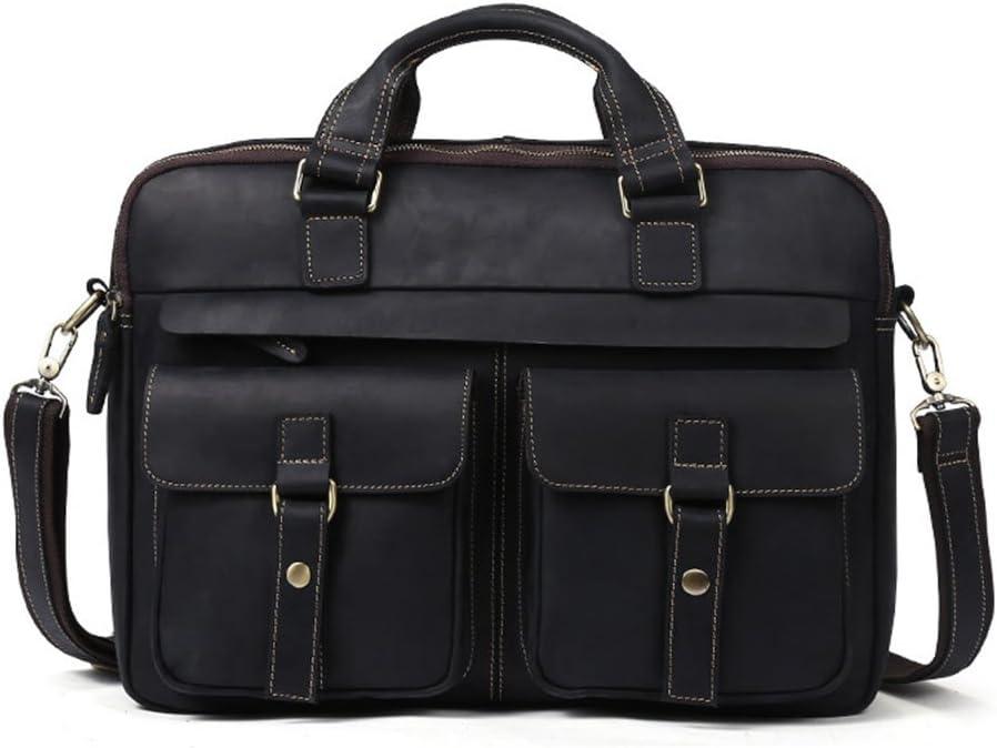 Color : Black Retro Business Bag Briefcase 15.6-inch Laptop Bag -Multicolor Optional Crossbody Handbag HTDZDX Leather Mens Bag