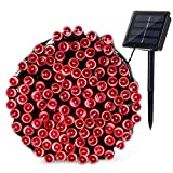 Qedertek 200 LED Solar Christmas Lights, 72ft Fairy String Lights for Home, Porch, Patio, Garden, Lawn, Party and Christmas Tree Decorations(Red)