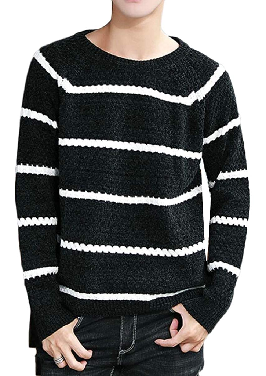 ZXFHZS Mens Crewneck Slim Hipster Knitwear Warm Knitted Stripe Pullover Sweaters