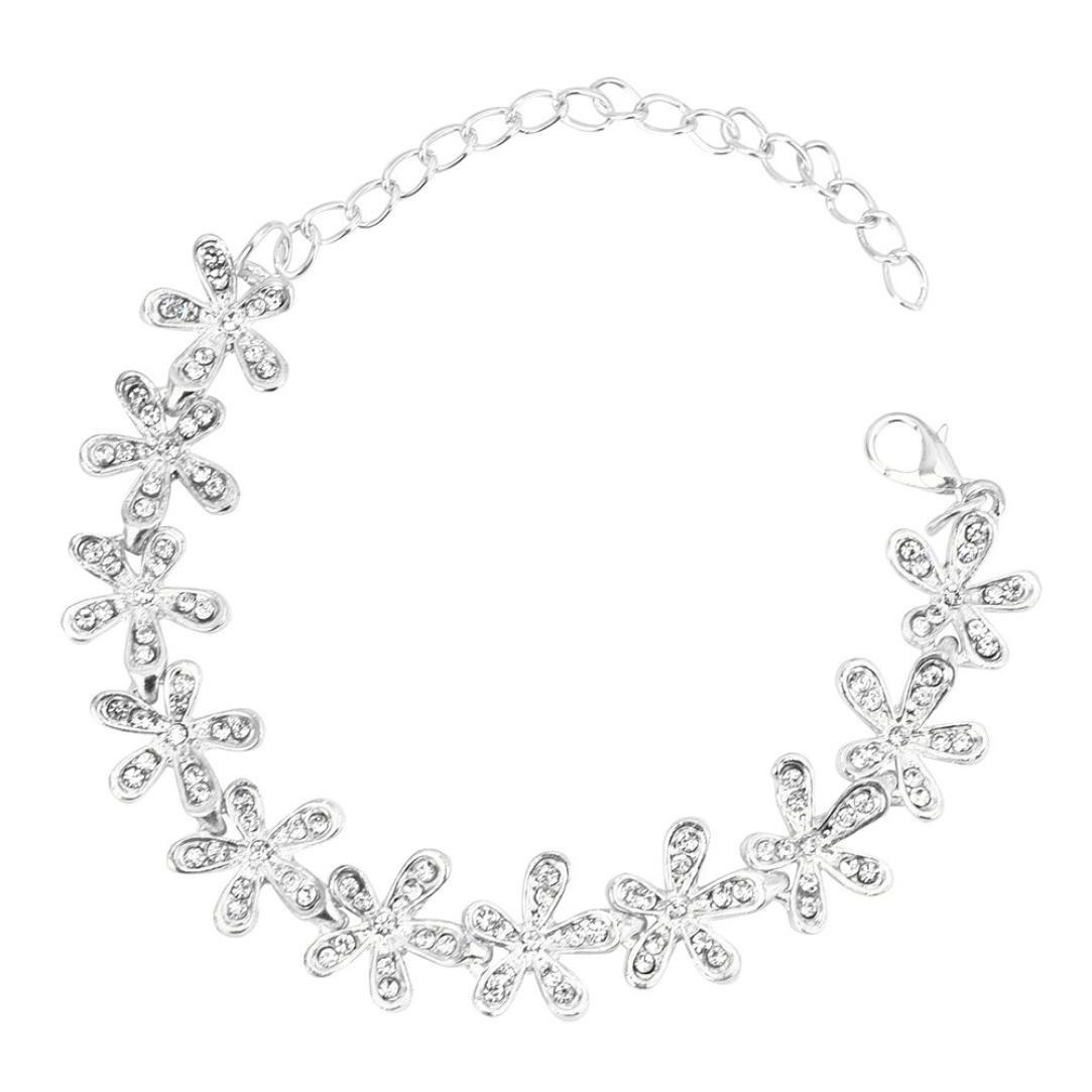 Leyorie Women Elegant Crystal Snowflake Bracelet Jewelry Rhinestone Chain Adjustable Cuff Bangle … (Silver)