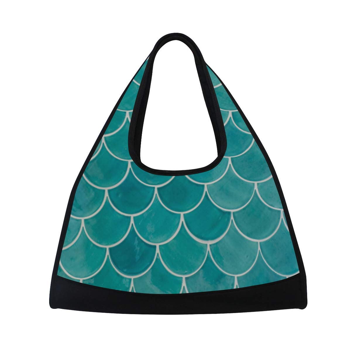 Mermaid Blue Fish Scales Women Sports Gym Totes Bag Multi-Function Nylon Travel Shoulder Bag