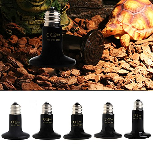 Qupida 50/75/100/150/200 Watt Basking Spot Lamp UVA UVB Pet Reptile Breeding Infrared Ceramic Heater Bulb/Lamp/Light for Reptile and Amphibian Use(100 (Sunglo Infrared Heater)