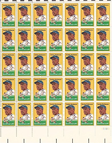 USPS Jackie Robinson Baseball Full Sheet of 50 x 20 Cent US Postage Stamps Scott 2016