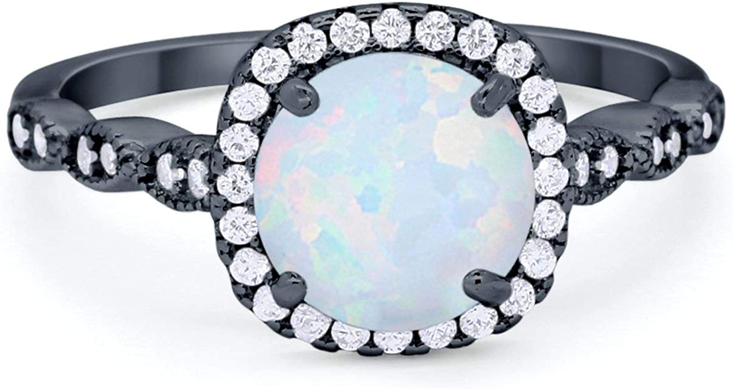 Blue Apple Co. Halo Solitaire Accent Art Deco Engagement Ring 925 Sterling Silver Choose Color