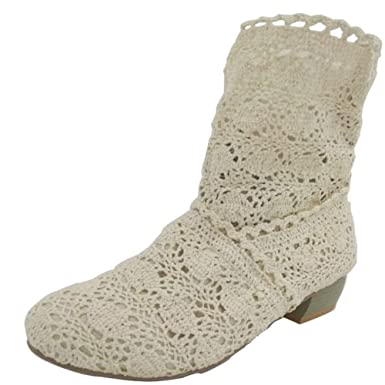 2f5acaf01b7b0 Amazon.com: Kauneus Women Summer Autumn Lace Hollow Boots Mid-Calf ...