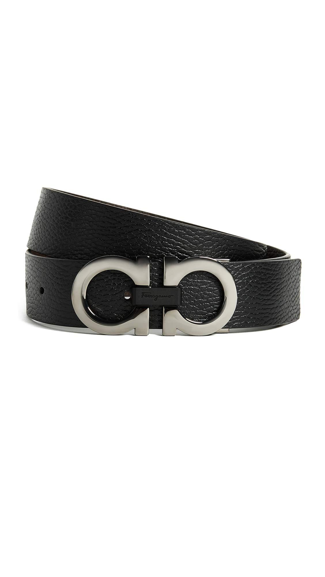 Salvatore Ferragamo Men's Reversible/Adjustable Belt-678783, Nero/Hickory 36