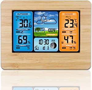 ALLOMN Wireless Weather Station with Color High Definition Display Indoor Outdoor Digital Thermometer Home Alarm Clock with Temperature Humidity Barometer Alarm Moon Phrase (Yellow Bamboo)