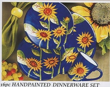 16pc Blue Yellow Gibson Sunflower Grace Handpainted Ceramic Dinnerware Set & Amazon.com   16pc Blue Yellow Gibson Sunflower Grace Handpainted ...