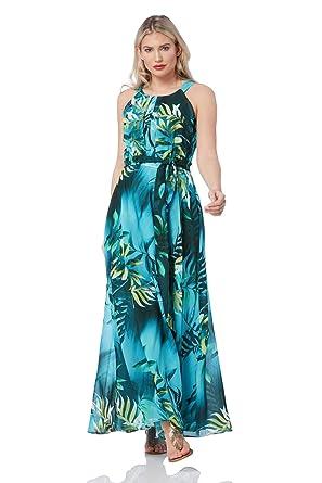 6b87e14068 Roman Originals Women Halter Neck Tropical Print Maxi Dress - Ladies Dresses  for Holiday Spring Summer Beach Cruise - Aqua - Size 20  Amazon.co.uk   Clothing