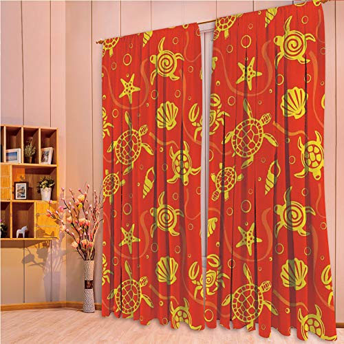 (House Decor Collection Living Room Bedroom Curtain 2 Panels Set by,Burnt Orange,Swimming Turtles and Crabs with Shells Bubbles and Starfish Tropical Ninja Decorative,Burnt Orange Yellow,84.3