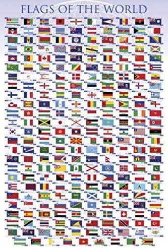 91x61cm Flaggen Der Welt Länder Hauptstädte Deutsch Poster Plakat #80469