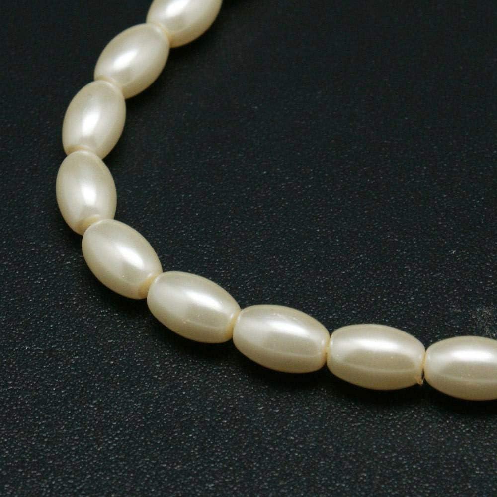 Perlas de Cristal, Perlas de Cera, Perlas cultivadas de imitación de Cristal, Color Blanco Crema, AAA, ovaladas, 9 x 6 mm, 45 Unidades Perla