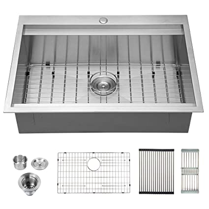 Logmey 30 Inch Ledge Drop-in Topmount Kitchen Sink 18 Gauge Stainless Steel  Kitchen Sink