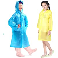 Kids Rain Ponchos, 2 Packs Portable Reusable Emergency Raincoats for 6-12 Years Old for Camping Hiking Traveling…