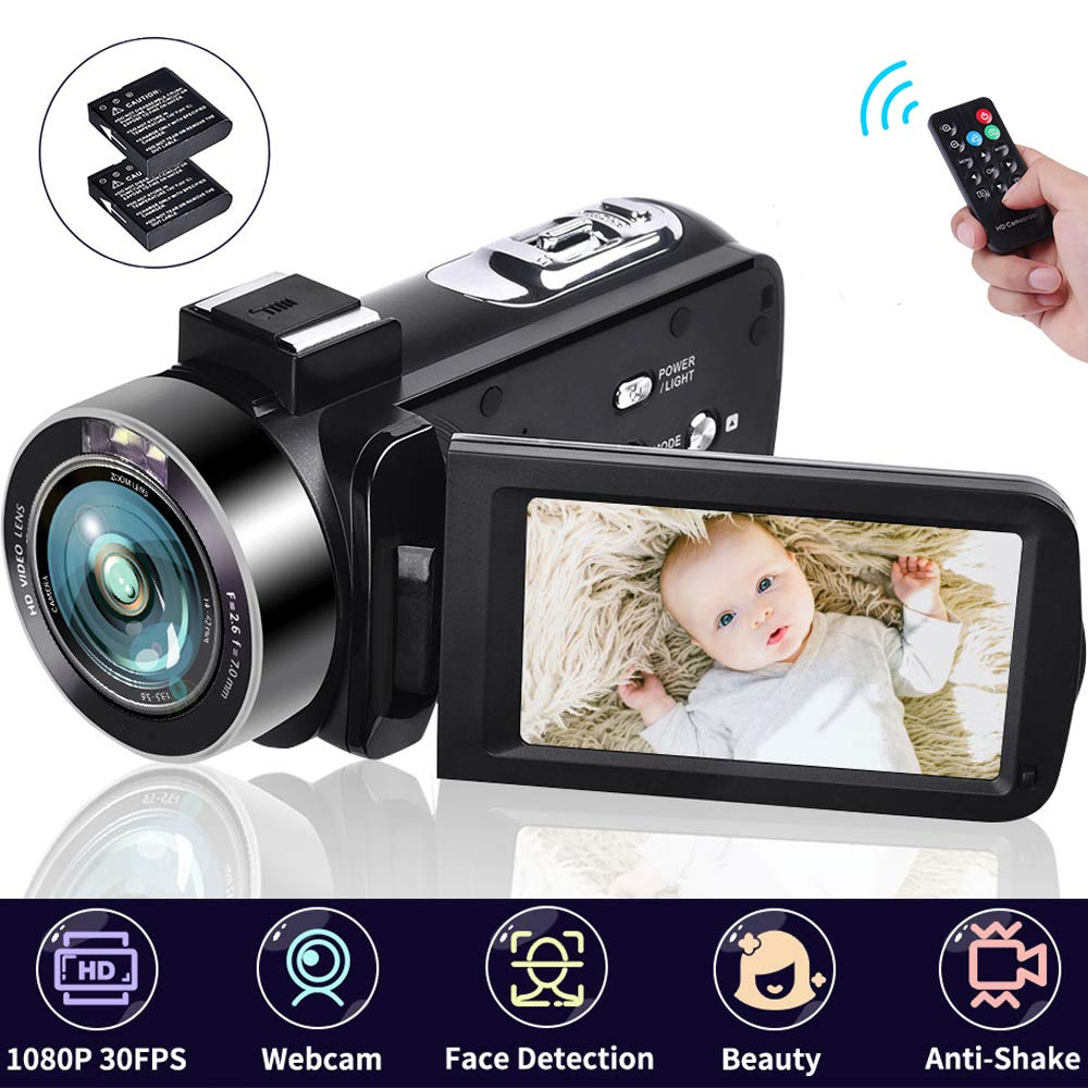 Camcorder 18X Digital Zoom Video Camera 1080P 30FPS Vlogging Camera Digital Camera with Remote Control 3'' IPS 270° Rotation Screen