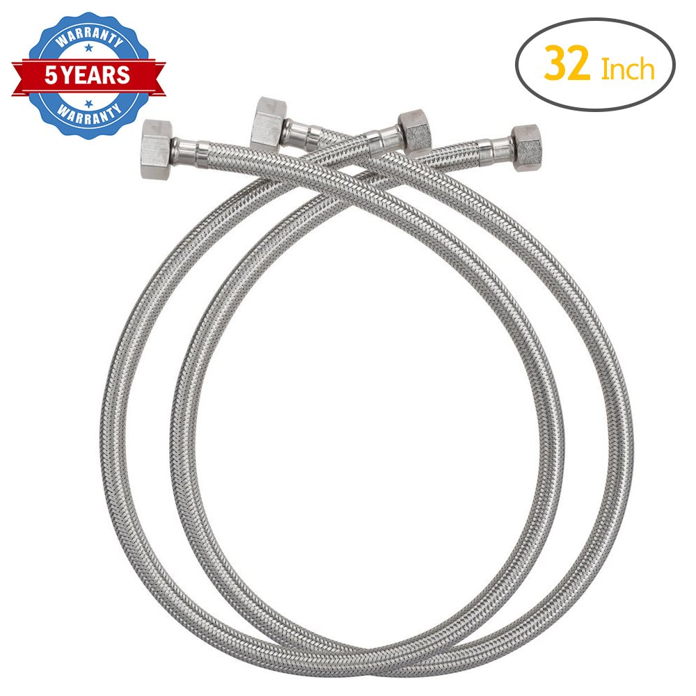 HOMEIDEAS 32-inch Faucet Connector Braided Stainless Steel Supply Hose 3/8'' Compression Female Thread x 1/2'' I.P. Female Straight Thread Faucet Hose Replacement Pack of 2(1 Pair)