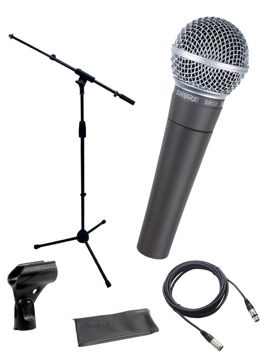 Shure SM58-LC Cardioid Dynamic Vocal Microphone Bundle with Stand Adapter and Zippered Pouch
