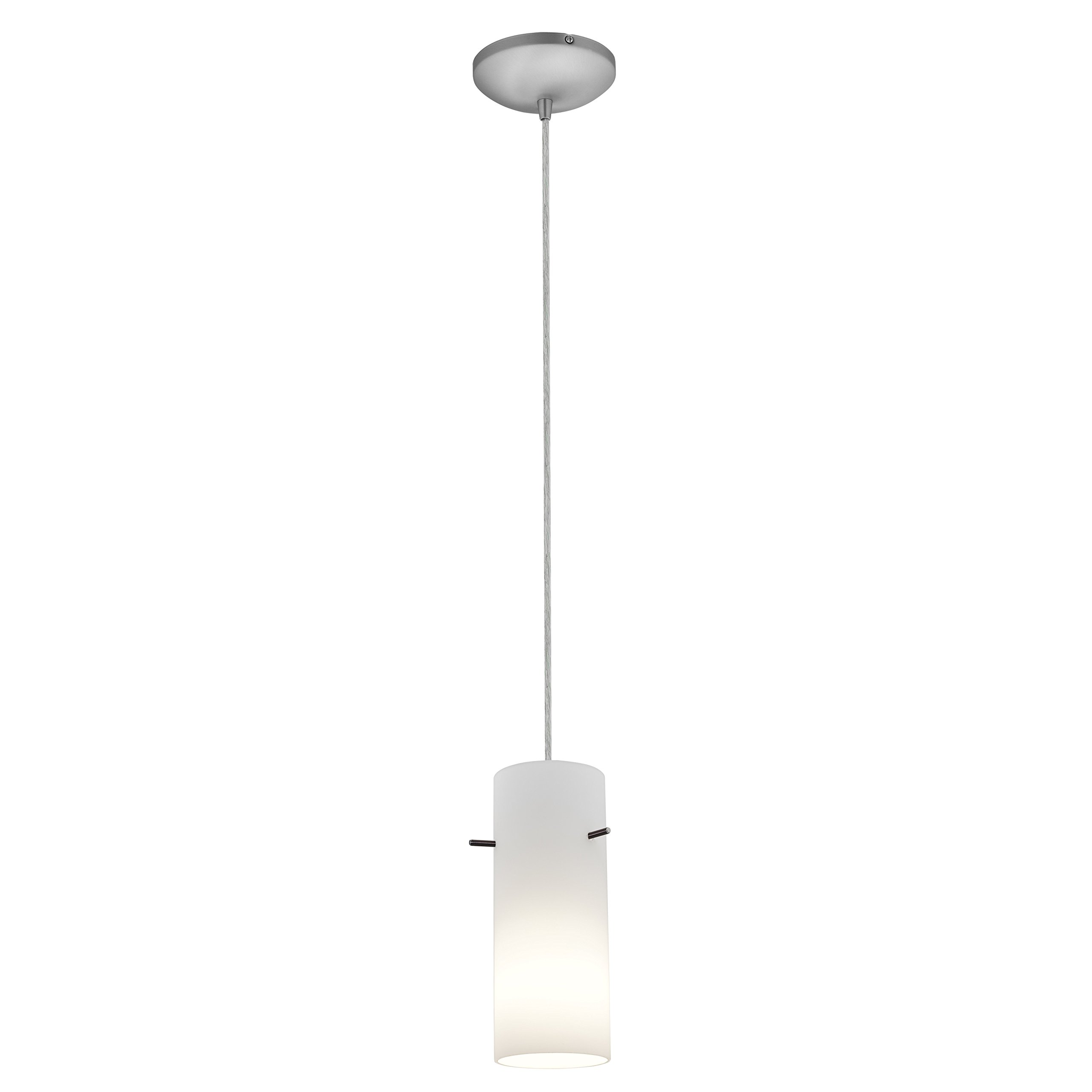 Cylinder - E26 LED Cord Pendant - Brushed Steel Finish - Opal Glass Shade